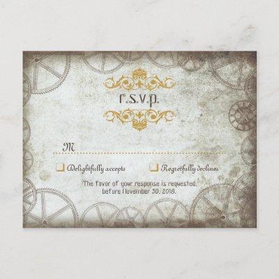 Industrial Vintage Steampunk Wedding Invitation Postcard