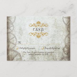 Industrial Vintage Steampunk Wedding RSVP Card