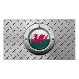Industrial Welsh Flag with Steel Graphic Business Cards