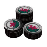 Industrial Welsh Flag with Steel Graphic Poker Chips
