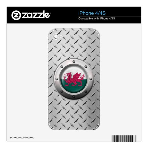 Industrial Welsh Flag with Steel Graphic Skin For The iPhone 4