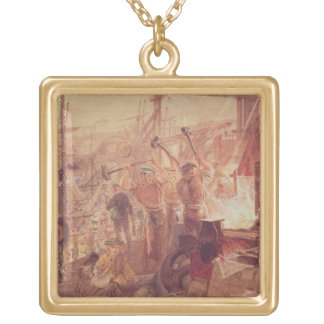 Industry on the Tyne: Iron and Coal (w/c) Square Pendant Necklace