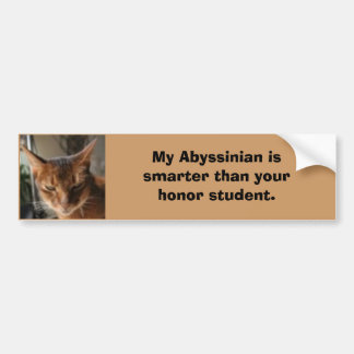 indy, My Abyssinian is smarter tha... - Customized Bumper Sticker