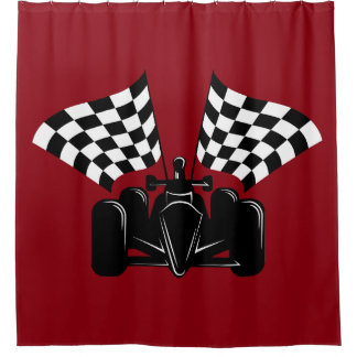 Indy car racing gifts on zazzle for Race car shower curtain