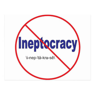 Ineptocracy Crazy system of government Postcard