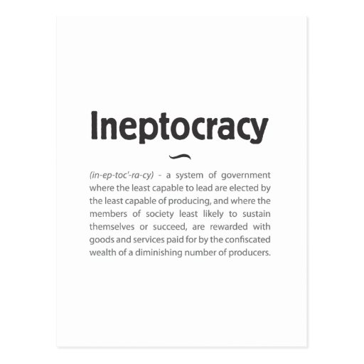 Ineptocracy Defined Post Card