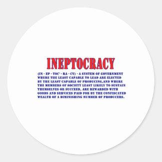 INEPTOCRACY DEFINITION CLASSIC ROUND STICKER