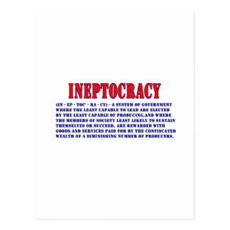 INEPTOCRACY DEFINITION POSTCARD