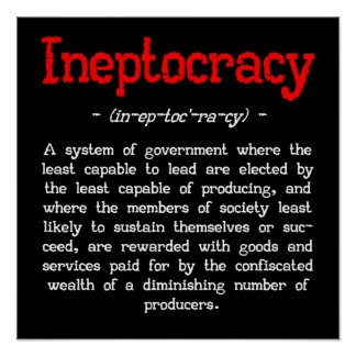 """Ineptocracy Definition Poster (small 16""""X16"""")"""