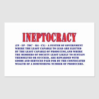 INEPTOCRACY DEFINITION RECTANGLE STICKER