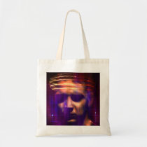 internet, net, sci fi, weird, eerie, face, girl, abstract, structures, digital, graphic, art, cyber, cyberspace, science, mind, techno, something, strange, design, houk, cool bags, computers, Bag with custom graphic design