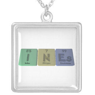Ines as Iodine Neon Einsteinium Square Pendant Necklace