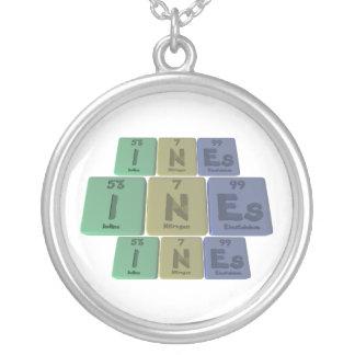 Ines as Iodine Neon Einsteinium Round Pendant Necklace