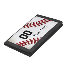 Inexpensive Baseball Gifts Your Name And Number Trifold Wallets at Zazzle