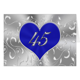 Reasonable Gift Card Amount For Wedding : Inexpensive Blue 45th Wedding Anniversary Cards