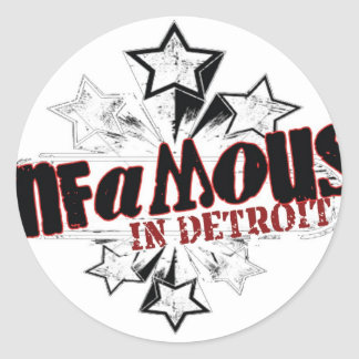 INFAMOUS IN DETROIT STARS ROUND STICKERS