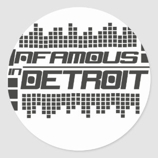 Infamous In Detroit Techno Round Stickers