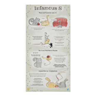 Infamous -S: plural, 3d person singular, possessiv Poster