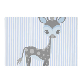 Infant Baby Blue Giraffe w/Stripes Placemat