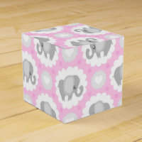 Infant Baby Girl Pink Elephant Favor Box