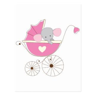 girl elephant baby shower postcards zazzle