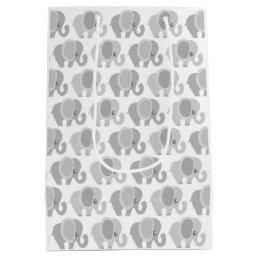 Infant Baby Neutral Gray Elephant Shower Gift Medium Gift Bag