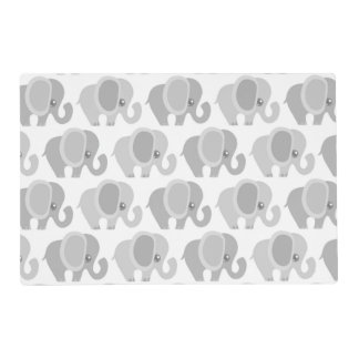 Infant Baby Neutral Gray Elephant Shower Gift Placemat