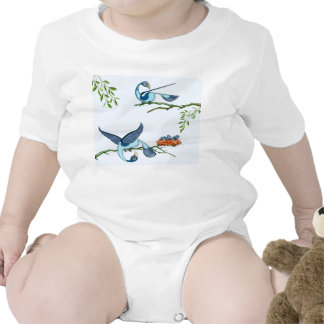 Infant baby tshirt with blue birds by tigudesign