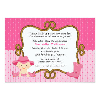 Infant Cowgirl Baby Shower Card