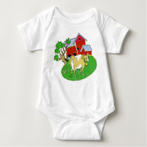 INFANT CREEPER, BARN WITH COW BABY BODYSUIT