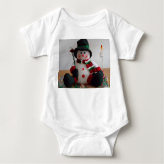 INFANT CREEPER - CHRISTMAS SNOWMAN AND CANDLE