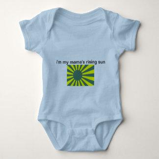 """Infant creeper, light blue """"rising sun"""" baby bodysuit"""