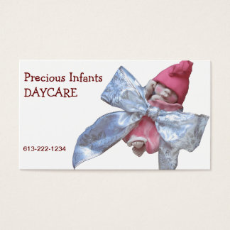 Infant Day Care: Clay Baby in Huge Silver Bow Business Card