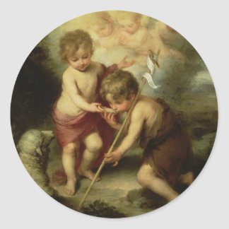 Infant Jesus and John the Baptist circa 1600 s Stickers