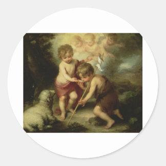 Infant Jesus and John the Baptist circa 1600's Classic Round Sticker