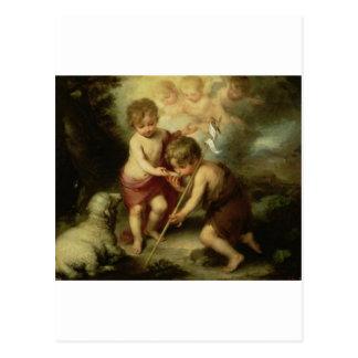 Infant Jesus and John the Baptist circa 1600's Postcard