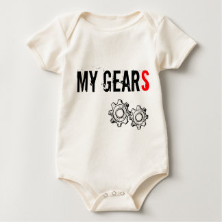 "Infant organic crawler T, ""MY GEARS"" Baby Bodysuit"