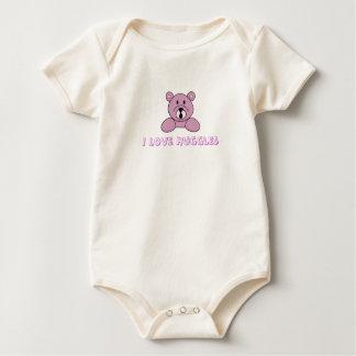 Infant Organic Creeper  I Love Huggles Bear