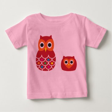 Halloween Themed Infant T-Shirt, Pink, RED OWLS Baby T-Shirt
