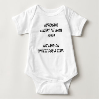 Infant wear announcing name, date & time of birth baby bodysuit