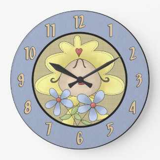 Infant With Flowers Wall Clock