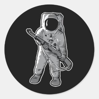 Infante de marina del espacio - astronauta con un pegatinas redondas