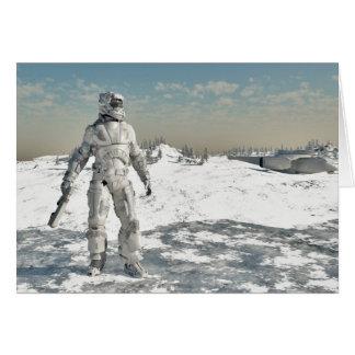 Infante de marina del espacio - guerrero del hielo tarjeta de felicitación