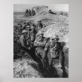 Infantería australiana que lleva respiradores de l poster
