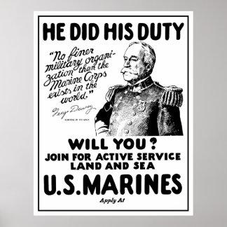 Infantes de marina de George Dewey los E.E.U.U. Posters