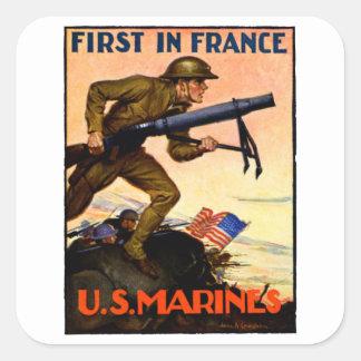 Infantes de marina de WWI los E.E.U.U. Pegatina Cuadrada