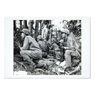 """Infantes de marina de WWII LOS E.E.U.U. en Peleliu Invitación 5"""" X 7"""""""