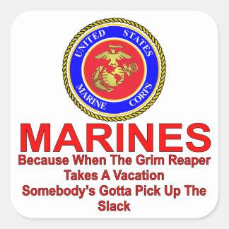 Infantes de marina porque cuando el segador tarda pegatina cuadrada