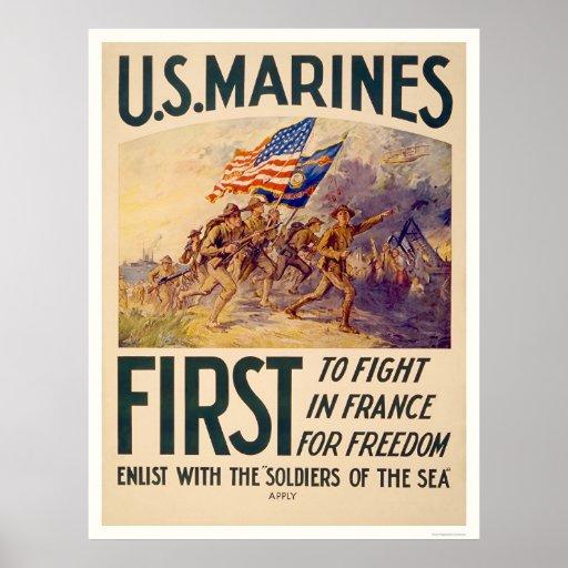 Infantes de marina - primero luchar en Francia par Póster