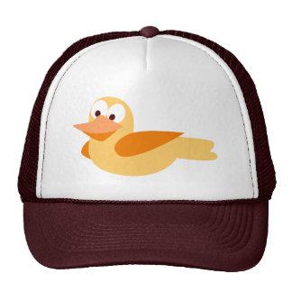 Infantile drawing funny duck flying trucker hats